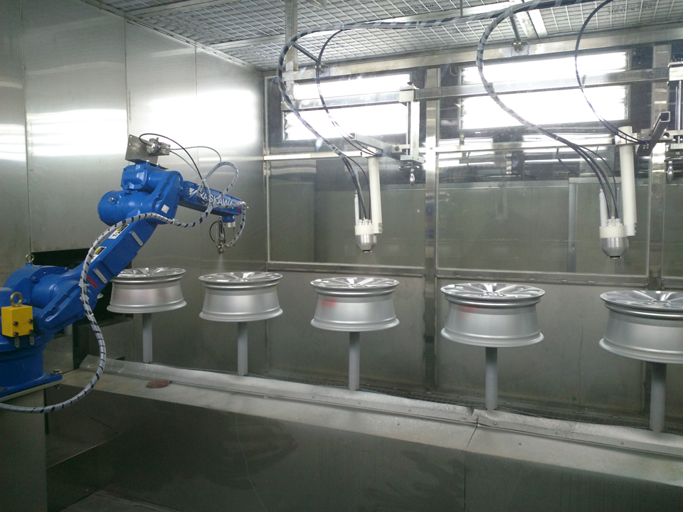 Automatic spraying equipment line